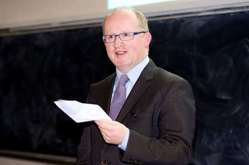Professor Philip Lane speaks at his inaugural lecture at Trinity College Dublin in 2014.