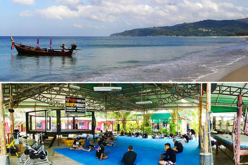 From top: Karon beach is 15 minutes away; a training class in session at Tiger Muay Thai.