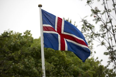 The Icelandic National Flag Flies From A Flagpole