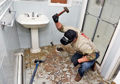 Gutting a flooded bathroom