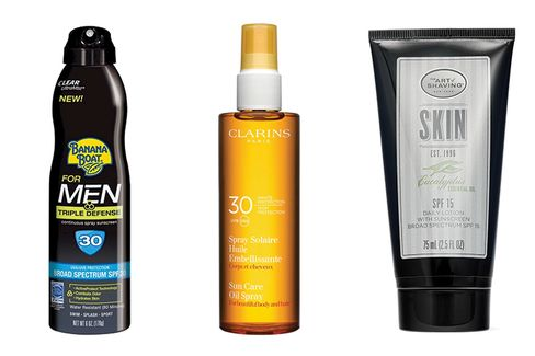 From left: Banana Boat for Men Clear Ultramist Triple Defense Sunscreen SPF 30; Clarins Sunscreen Care Oil Spray SPF 30; The Art of Shaving Eucalyptus SPF 15 Daily Facial Moisturizer