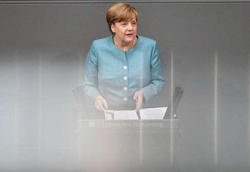 Angela Merkel at the Bundestag on June 29.
