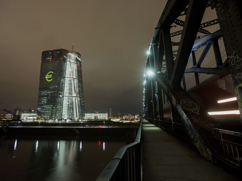 The European Central Bank's Headquarters Illuminated During Luminale Light Festival