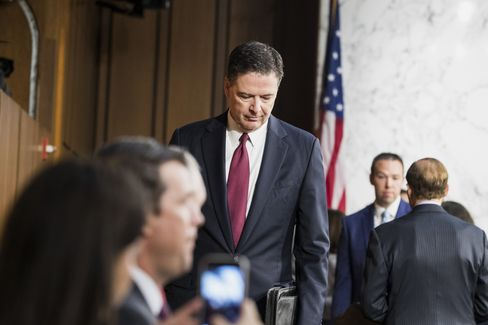James Comey arrives to a Senate Intelligence Committee hearing on June 8.