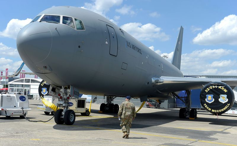 A Boeing KC-46 tanker sits at the Paris Air Show on June 17, 2019.