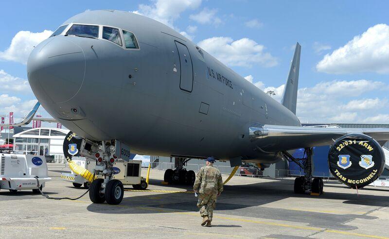 A Boeing KC-46 tanker sits at the Paris Air Showon June 17, 2019.
