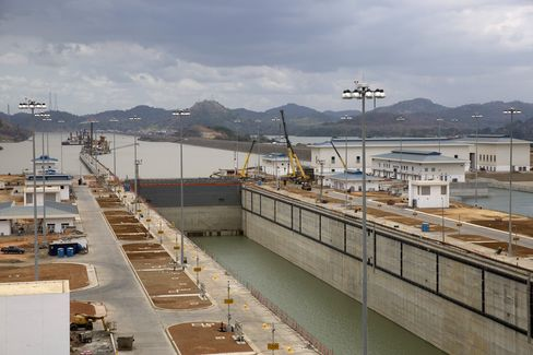 An expanded section of the Panama Canal seen from the control tower.