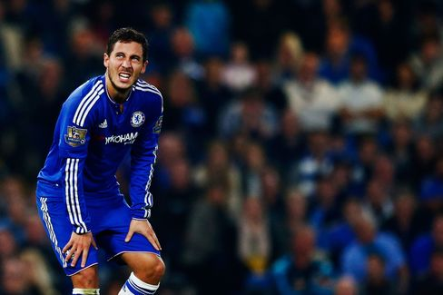Chelsea's Eden Hazard after the team conceded a third goal to Southampton during their Barclays Premier League match at Stamford Bridge on Oct. 3, 2015.