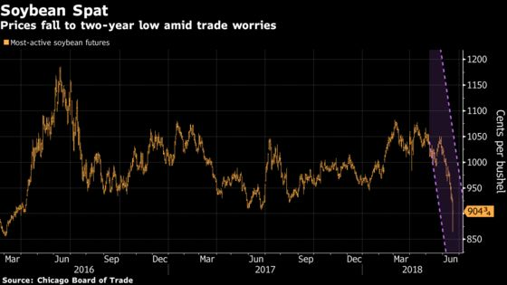 `Panic Mode' for Crop Markets as Prices Plunge on Trade Fear