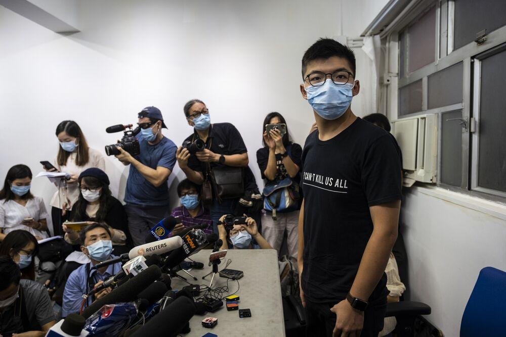 Joshua Wong during a news conference in Hong Kong, China, on July 31.