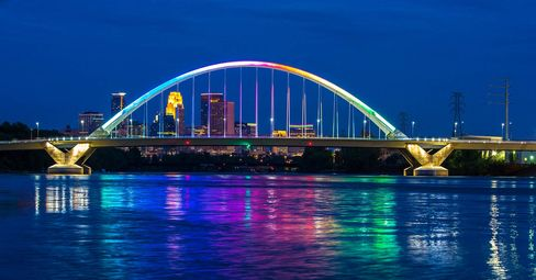 """The Hennepin County Administrator hasa formal policy for this bridge, which spans the Mississippi River in Minneapolis: """"Special lighting for approved applications begins at 6 p.m. on the requested date and ends at 6 a.m. the following morning."""""""