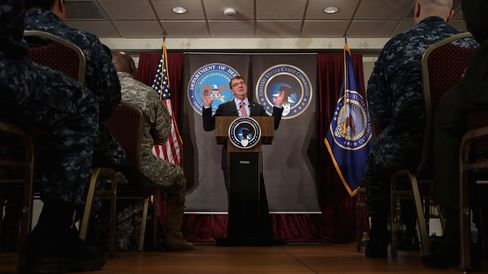 U.S. Secretary of Defense Ash Carter delivers remarks to an audience of U.S. Cyber Command troops and National Security Agency employees while visiting the NSA and command headquarters on March 13, 2015 in Fort Meade, Maryland.
