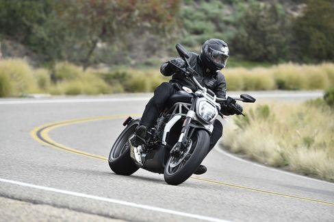 The author tests out theXDiavel's 40-degree lean, which enables sharper turns at faster speeds.