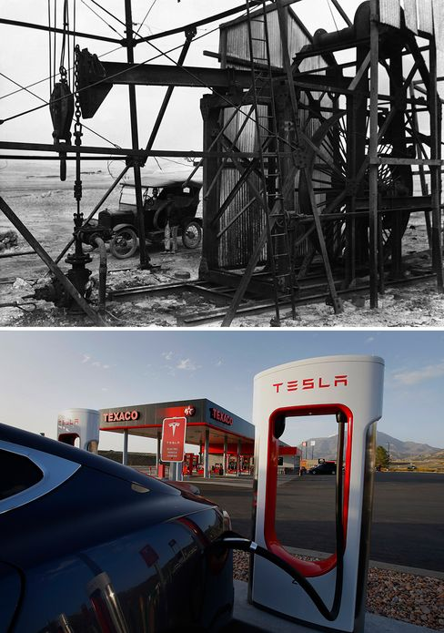 A model T beside an oil well in Iran, 1925. Musk was personally involved with the design of the Tesla Supercharger Station, 2015.