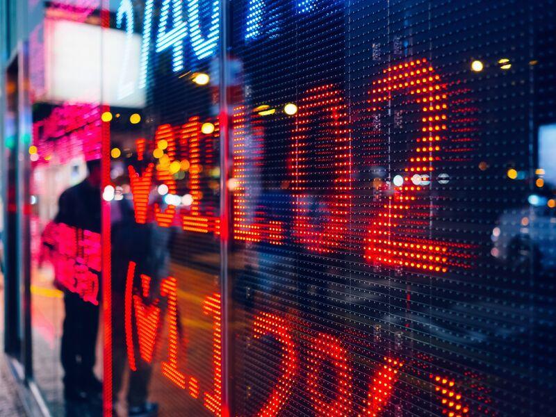 RF markets red stocks market display screen
