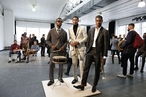 Musically inclined (or just appearing to be so) models at the David Hart show on day one of NYFW: Men's.