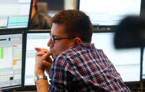 A Trader Monitors Data at the Frankfurt Stock Exchange