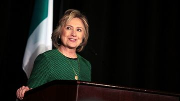 Former Secretary of State Hillary Clinton speaks on stage during a ceremony to induct her into the Irish America Hall of Fame on March 16, 2015 in New York City. The Irish America Hall of Fame was founded in 2010 and recognizes exceptional figures in the Irish American community.