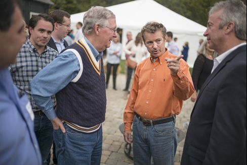 Senator Rand Paul attends a BBQ event with Senator Mitch McConnell inBowling Green, Ky.,on Oct.12, 2014.