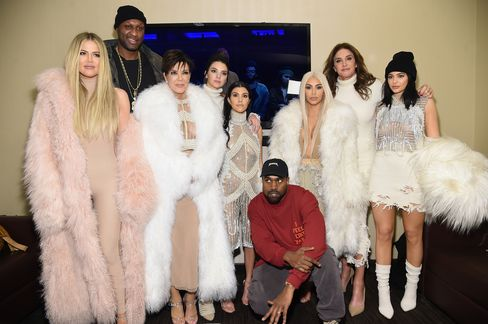 The Kardashian clan attended the Yeezy show, clad in attention-grabbing whites and furs. From left: Khloe Kardashian, Lamar Odom, Kris Jenner, Kendall Jenner, Kourtney Kardashian, West, Kim Kardashian, Caitlyn Jenner and Kylie Jenner.