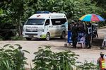 An ambulance leaves from the Tham Luang cave area as the operations continue for those still trapped inside the cave in Khun Nam Nang Non Forest Park in the Mae Sai district of Chiang Rai province on July 10, 2018.