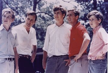 George Bush Sr., the eventual 41st president of the United States, is pictured in 1970 with his four sons, from left: Neil; Jeb; George W., the 43rd president; and Marvin.