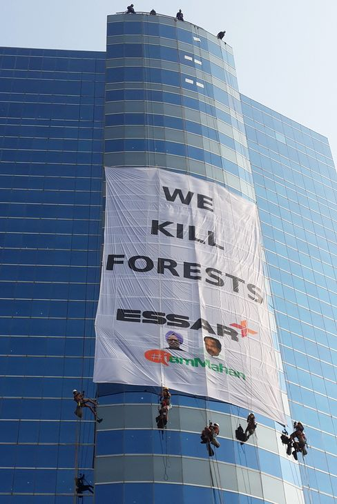 Greenpeace Activists At Essar Group's Headquarters