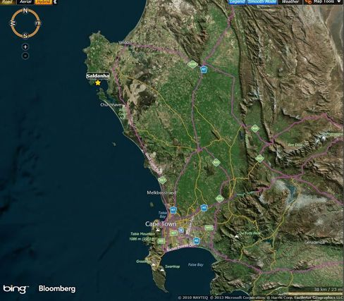 Map: Saldanha, in South Africa's Western Cape province