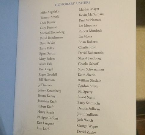 The list of honorary ushers listed in the program from Jimmy Lee's memorial service