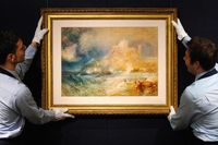Bamborough Castle, a watercolor drawing by J.M.W. Turner, is put on display at Sotheby's on Nov. 16, 2007.