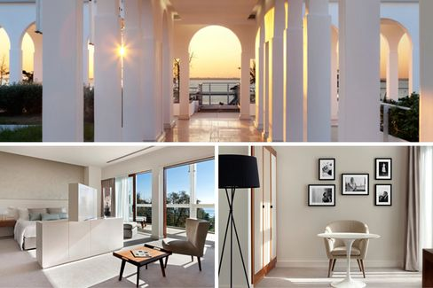 The rooftop terrace and rooms on JW Marriott in the main building of the converted hospital on Isole delle Rosa.