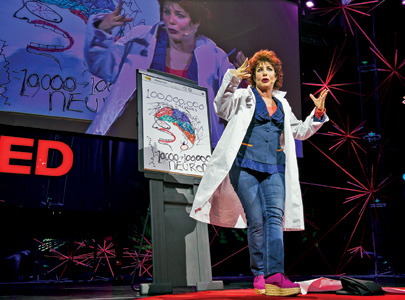 Mental health activist Ruby Wax uses a whiteboard for a TED talk