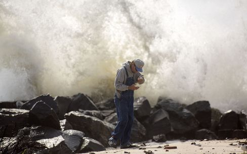 Strong waves crash into shore in Atlantic City on Sept. 4.