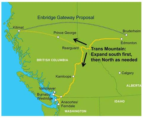 Two pipelines would deliver more than 1 million barrels per day to the west coast of Canada