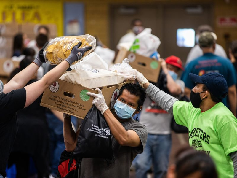 Catholic Charities Brooklyn And Queens Pop Up Food Distribution Site As Demand On Food Banks Surge