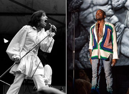 The subcultural music scene has had a huge influence over the direction of men's dress; Mick Jagger in the late 1960s and Kanye West in a women's Celine blouse at Coachella in 2011.