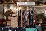 Rack of unsold inventory in the basement ofLuLaRoe fashion consultant Amy Jo Reece.