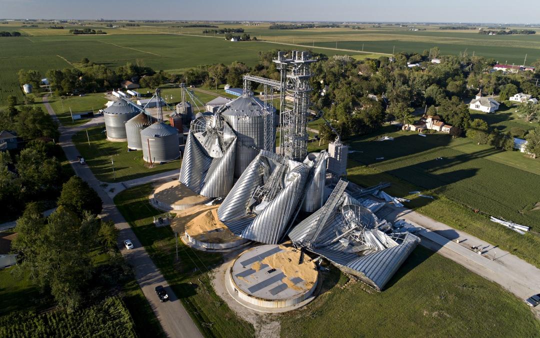 Damaged grain bins in Luther, Iowa on Aug. 11.
