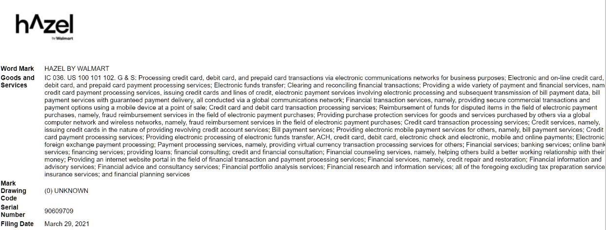 relates to Walmart Files for Trademark for Fintech Unit: 'Hazel by Walmart'