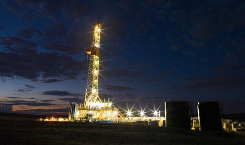 An Oil Drilling Rig Stands in North Dakota