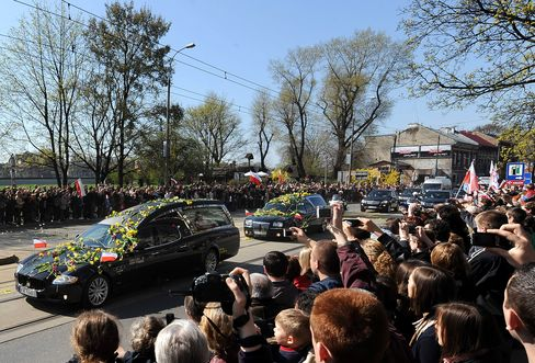 The funeral procession in Krakow