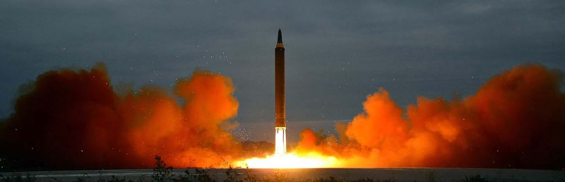 This picture from North Korea's official Korean Central News Agency (KCNA) taken on August 29, 2017 and released on August 30, 2017 shows North Korea's intermediate-range strategic ballistic rocket Hwasong-12 lifting off from the launching pad in Pyongyang.Nuclear-armed North Korea said on August 30 that it had fired a missile over Japan the previous day, the first time it has ever acknowledged doing so. / AFP PHOTO / KCNA VIA KNS / STR / South Korea OUT / REPUBLIC OF KOREA OUT ---EDITORS NOTE--- RESTRICTED TO EDITORIAL USE - MANDATORY CREDIT