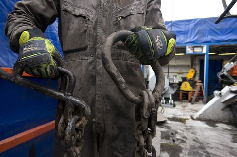 Rig Hands Work at a Hydraulic Fracturing Site in Pennsylvania