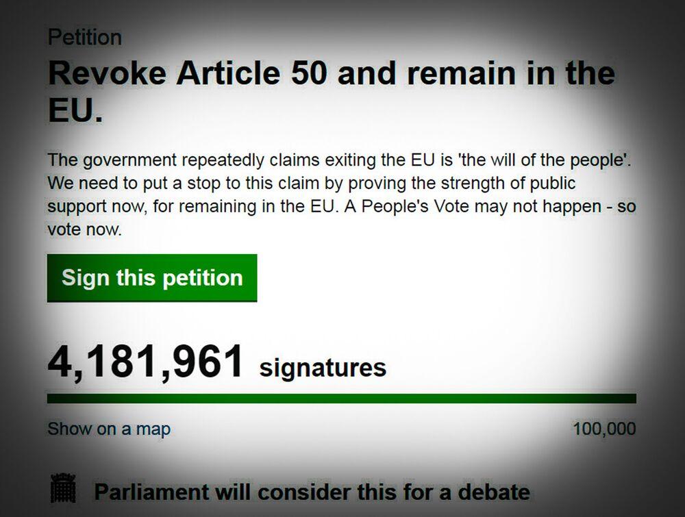 Stop-Brexit Petition Tops 4.18 Million Names, Sets U.K. Record