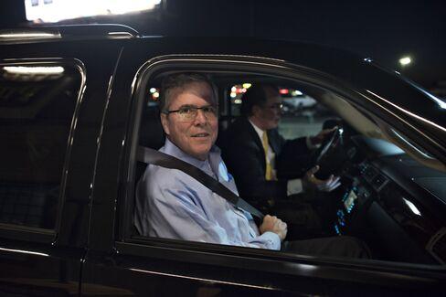 Jeb Bush leaves the Pizza Ranch in Cedar Rapids, Iowa, on March 7, 2015.