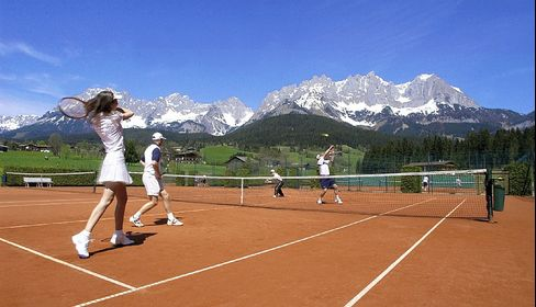 One of the eight outdoor courts at the Bio-Hotel Stanglwirt.