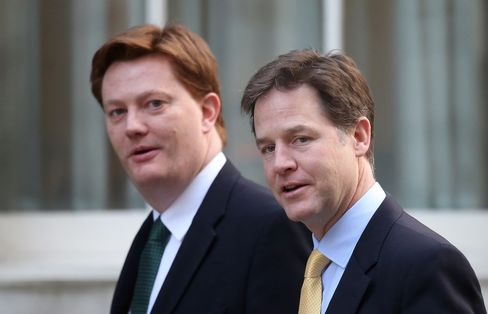 Nick Clegg and Danny Alexander arrive at 10 Downing Street for a pre-budget cabinet meeting in London on March 18, 2015.