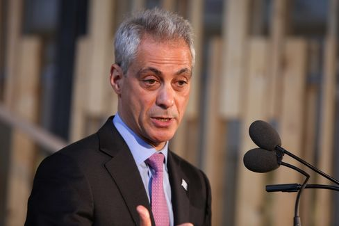 Chicago Mayor Rahm Emanuel attends the opening day event for Motorola Mobility headquarters at Chicago's Merchandise Mart on April 22, 2014 in Chicago, Illinois.