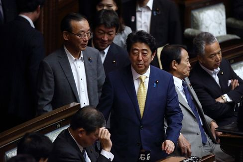 Japan Prime Minister Shinzo Abe At National Diet As Japan Moves To Expand Military Role In Turn Against Pacifism