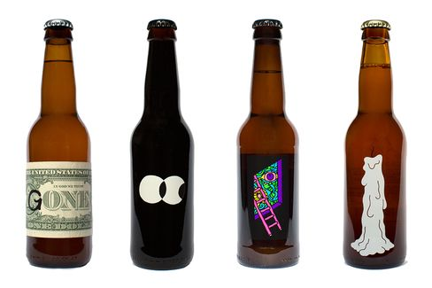 From left: Omnipollo's Gone, Hypno, Life is a Peach, and Mazarin beers.